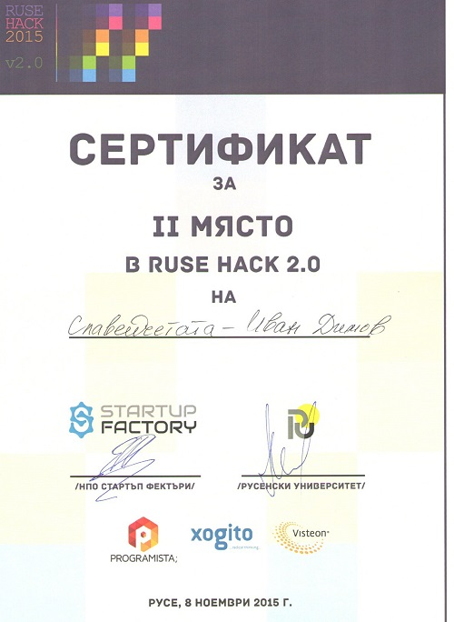 Second place in Ruse Hack v2.0