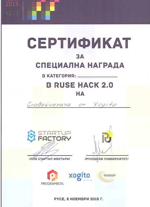 Special Award from Xogito at Ruse Hack v2.0